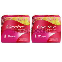 Carefree Super Dry Pantyliner Unscented 2x40s