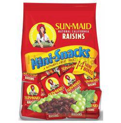 Sunmaid California Raisins Mini Snacks 14s 196gm