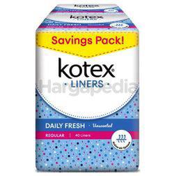 Kotex Fresh Pantyliner Regular Unscented 2x40s