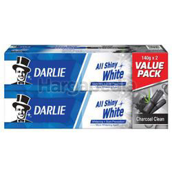 Darlie All Shiny White Charcoal Clean Toothpaste 2x140gm