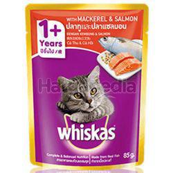 Whiskas 1+ Pouch Cat Food Mackerel & Salmon 85gm