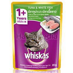 Whiskas 1+ Pouch Cat Food Tuna & White Fish 85gm