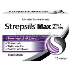Strepsils Max Triple Action Blackcurrant Lozenge 16s