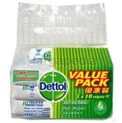 Dettol Anti-Bacterial Wet Wipes 3x10s