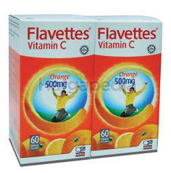Flavettes C Vitamin C 500mg Orange 2x60s