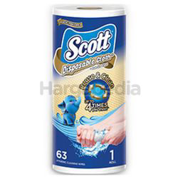 Scott Disposable Cloth-Like Wipes 63pc 1s