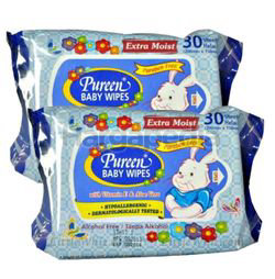 Pureen Baby Wipes Blue 2x30s