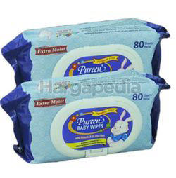 Pureen Baby Wipes Blue 2x80s