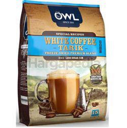 Owl 3in1 White Coffee Tarik Less Sugar 15x30gm