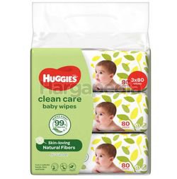 Huggies Baby Wipes Clean Care 3x80s