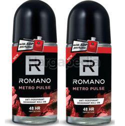 Romano Men Deodorant Roll On Metro Pulse 2x50ml