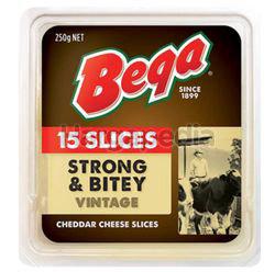 Bega Strong & Bitey Vintage Cheese Slice 250gm