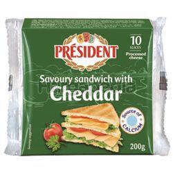 President Sandwich Cheddar Sliced Cheese 200gm