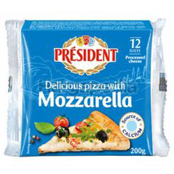 President Mozzarella Sliced Cheese 200gm