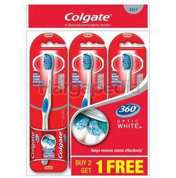 Colgate 360 Optic White Soft Toothbrush 2s+1s