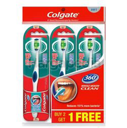 Colgate 360 Degree Whole Mouth Clean Soft Toothbrush 2s+1s