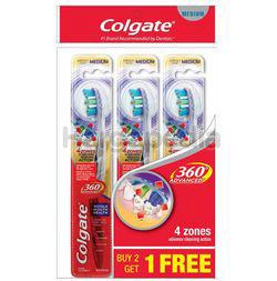 Colgate 360 Advanced Medium Toothbrush 2s+1s
