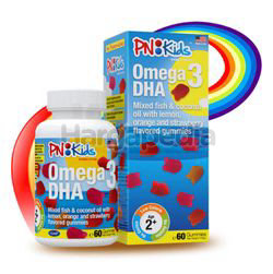PN Kids Omega 3 DHA Mixed Fish&Coconut Oil With Lemon, Orange and Strawberry Gummies 60s