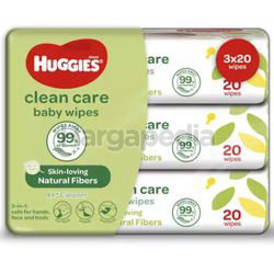 Huggies Baby Wipes Clean Care 3x20s