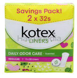 Kotex Fresh Daily Odor Care Pantyliner Regular Scented Daun Sirih 2x32s