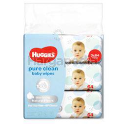 Huggies Baby Wipes Pure Clean 3x64s