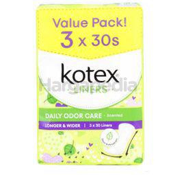 Kotex Fresh Daily Odor Care Pantyliner Longer & Wider Daun Sirih 3x30s