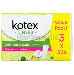 Kotex Fresh Daily Odor Care Pantyliner Regular Scented Daun Sirih 3x32s