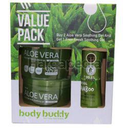 Body Buddy Aloevera Moisture Real Soothing Gel 2x500ml +  Carrot Soothing Gel 250ml