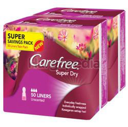 Carefree Super Dry Pantyliner Unscented 2x50s