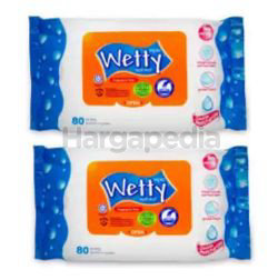 Wetty Wet Wipes 2x80s