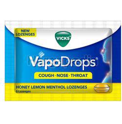 Vicks VapoDrops Lozenges Honey Lemon Menthol 6s