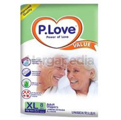 P.Love Value Adult Tape Diapers  XL8