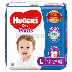 Huggies Dry Pants Mega Pack L58+6