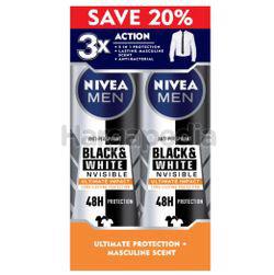 Nivea Men Black & White Invisible Ultimate Impact  Deodorant Spray 2x150ml