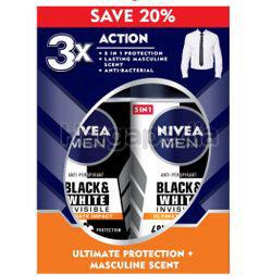 Nivea Men Black & White Invisible Ultimate Impact Deodorant Roll On 2x50ml