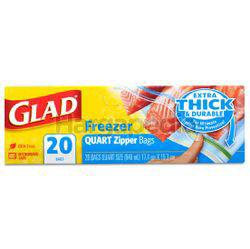 Glad Freezer Quart Zipper Bags 20s