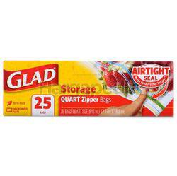 Glad Storage Quart Zipper Bag 25s