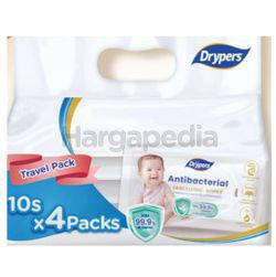 Drypers Antibacterial Wipes 4x10s
