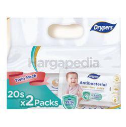 Drypers Antibacterial Wipes 2x20s