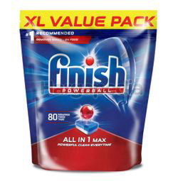 Finish All-in-one Max Power Ball Dishwasher Cleaning Tablets 80s