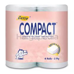 Cutie Compact Toilet Roll 3ply 4s