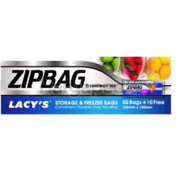 Lacy's ZipBag Storage & Freezer Bag 165mm x 150mm 60s