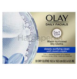 Olay Daily Facials Water Activated Dry Cloths Deeply Purifying Clean 33s