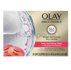 Olay Daily Facials Water Activated Dry Cloths Deeply Hydrating Clean 33s