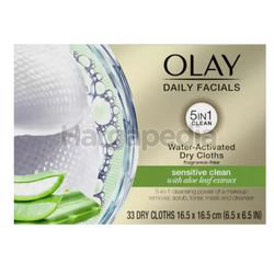 Olay Daily Facials Water Activated Dry Cloths Deeply Sensitive Clean 33s