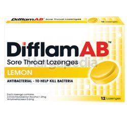 Difflam Ab Sore Throat Lozenges Lemon 12s