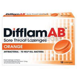 Difflam Ab Sore Throat Lozenges Orange 12s