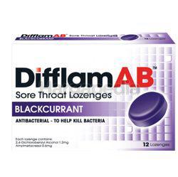 Difflam Ab Sore Throat Lozenges Blackcurrant 12s