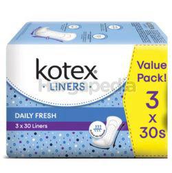 Kotex Fresh Pantyliner Longer & Wider Scented 3x30s