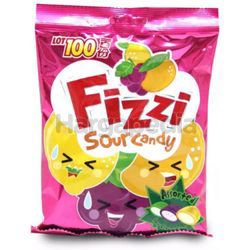 Lot 100 Fizzi Sour Candy Assorted 120gm